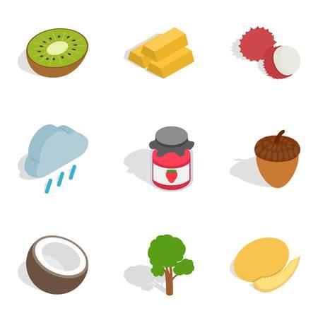 Sustain icons set, isometric style. Illustration