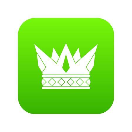 Cog crown icon digital green. Stock Illustratie