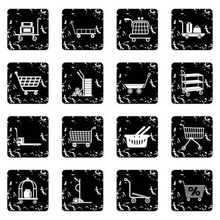 Cart types icons set grunge vector.