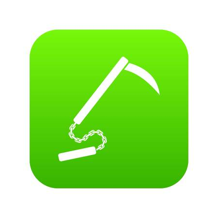 Kusarigama icon digital green for any design isolated on white vector illustration 일러스트