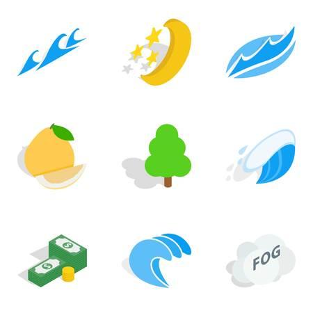Feasible icons set, isometric style.