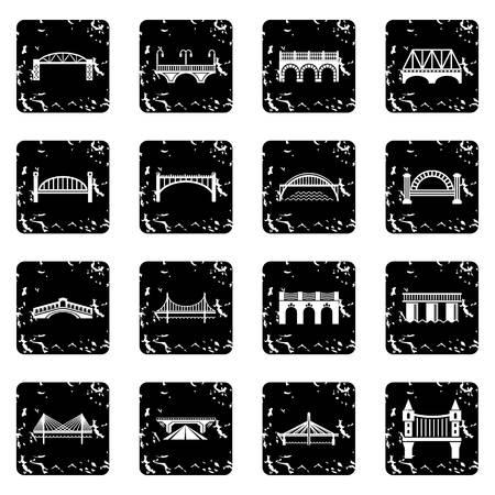 Bridge icons set vector grunge isolated on white background