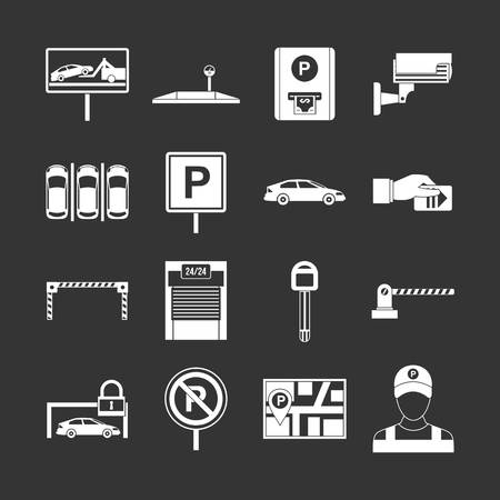 Car parking icons set vector white isolated on grey background