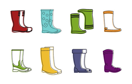 Boots icon set, color outline style. Stock Illustratie