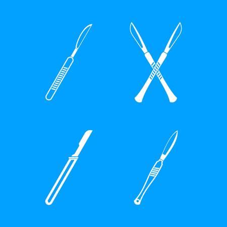 Scalpel icon blue set vector.