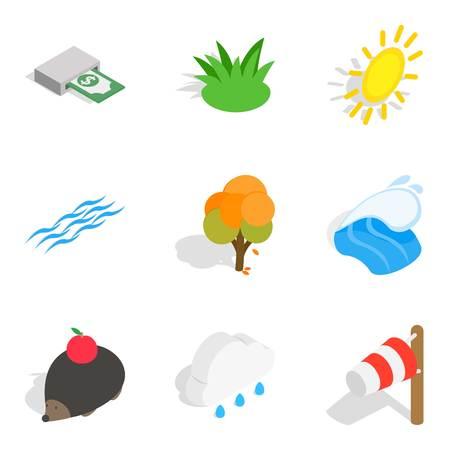 Ecologically friendly icons set. Isometric set of 9 ecologically friendly vector icons for web isolated on white background Illustration