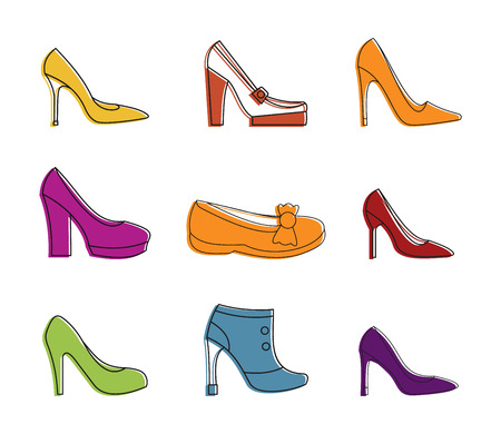 Woman shoes icon set, color outline style.