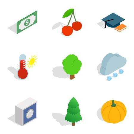 Environmentally sound icons set, isometric style. Stock Illustratie