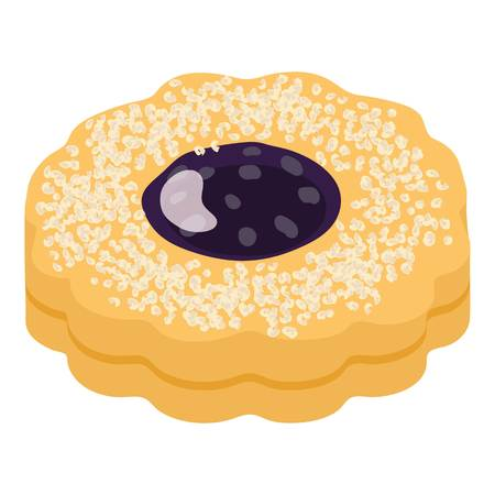 Jam biscuit icon. Isometric illustration of jam biscuit vector icon for web