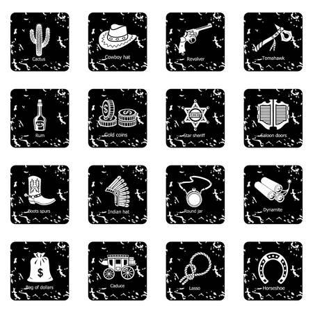 Icônes de Far west set vector illustration