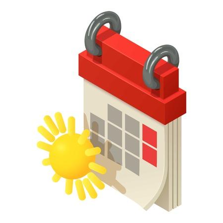 Spring calendar icon, isometric style vector illustration