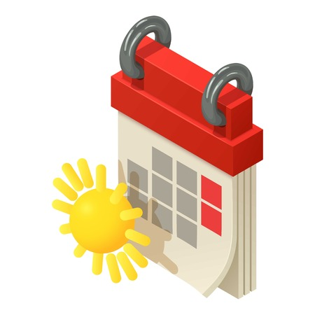 Spring calendar icon, isometric style vector illustration