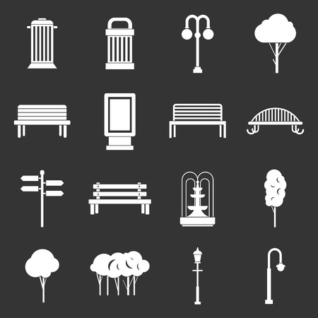 Park icons set vector illustration Stock Illustratie