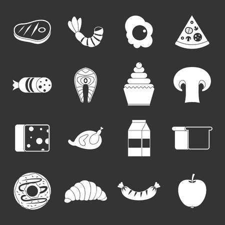 Food icons set vector white isolated on grey background