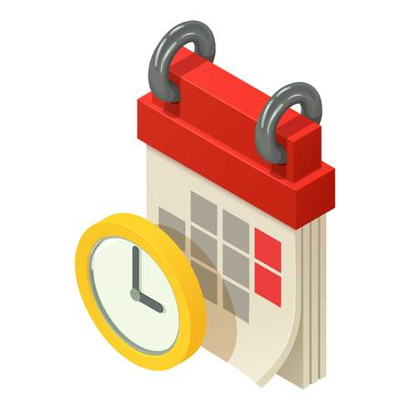 Time of calendar icon. Isometric illustration of time of calendar vector icon for web
