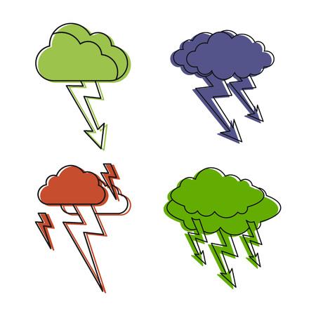 Storm cloud icon set vector illustration