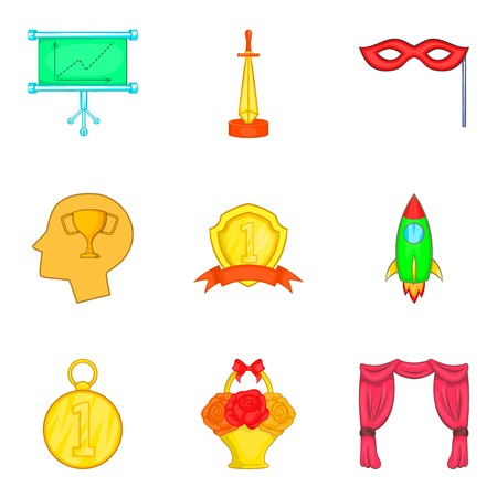 Rise icons set. Cartoon set of 9 rise vector icons for web isolated on white background Illustration