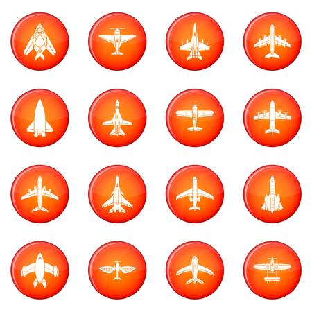Airplane top view icons set vector illustration Illustration