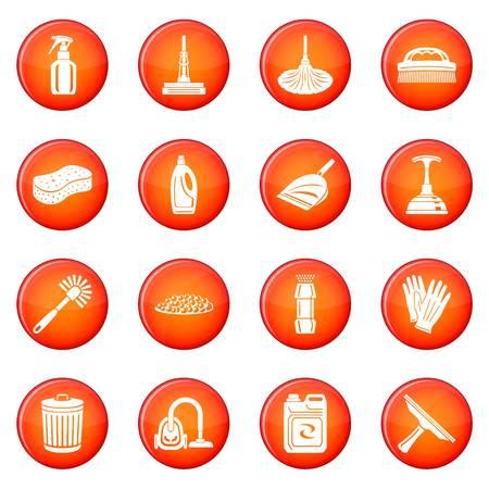 Icônes de nettoyage mis cercle rouge vecteur isolé sur fond blanc