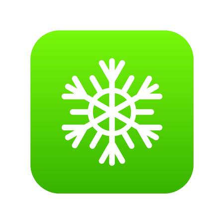 Snowflake icon digital green for any design isolated on white vector illustration