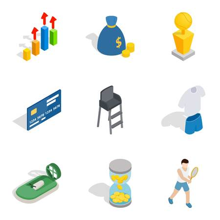 Vital success icons set. Isometric set of 9 vital success vector icons for web isolated on white background Illustration