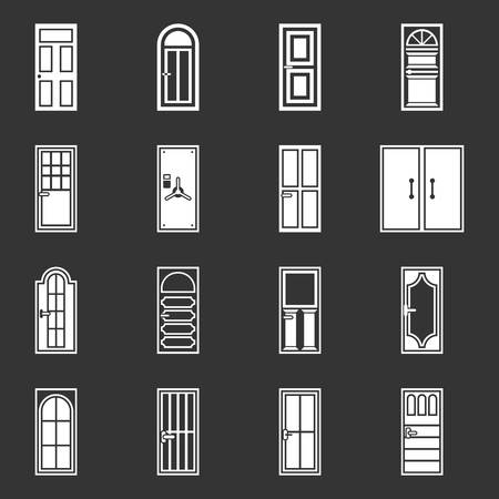 Door icons set vector white isolated on grey background