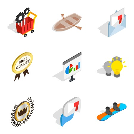 Advance icons set, isometric style Vector illustration.