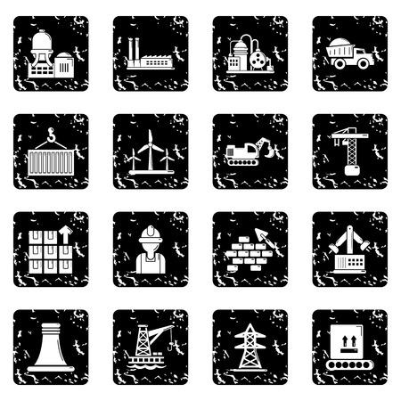 Industry icons set grunge Vector illustration.