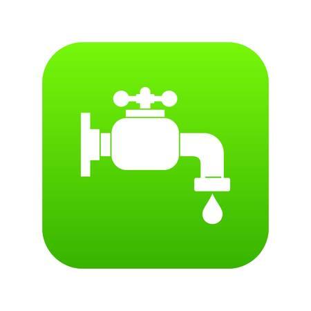 Water tap icon digital green Vector illustration.