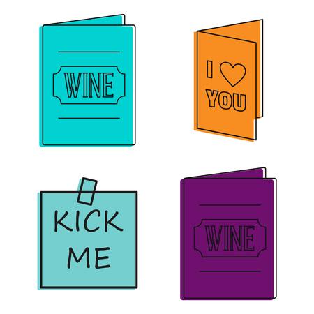 Invitation icon set, color outline style Vector illustration.