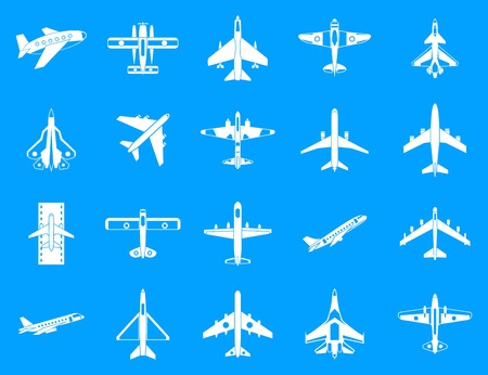 Plane icon blue set Vector illustration. Stock Illustratie