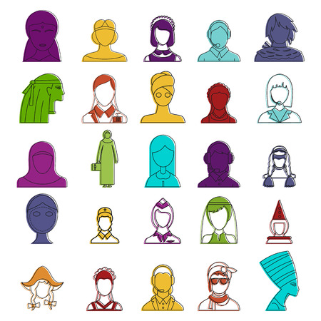 Woman avatar icon set, color outline style Vector illustration.