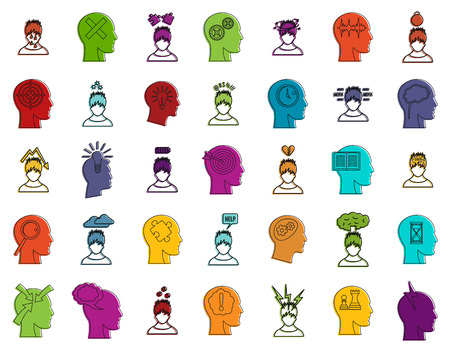 Human idea icon set. Color outline set of human idea vector icons for web design isolated on white background
