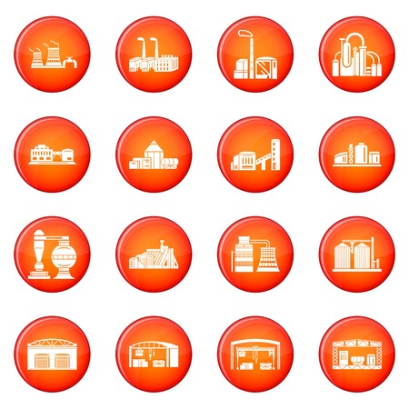 Factory icons set vector red circle isolated on white background Banque d'images - 98729328