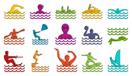 Water sport icon set. Color outline set of water sport vector icons for web design isolated on white background Illustration