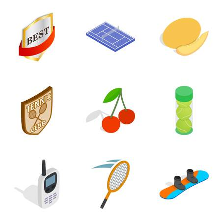 First prize icons set. Isometric set of 9 first prize vector icons for web isolated on white background
