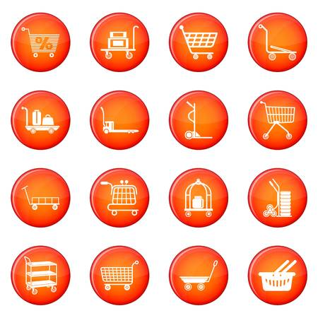 Cart types icons set vector red circle isolated on white background  일러스트