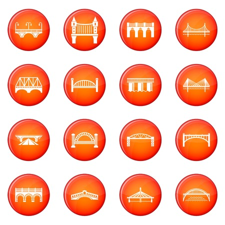 Bridge icons set vector red circle isolated on white background  Illustration