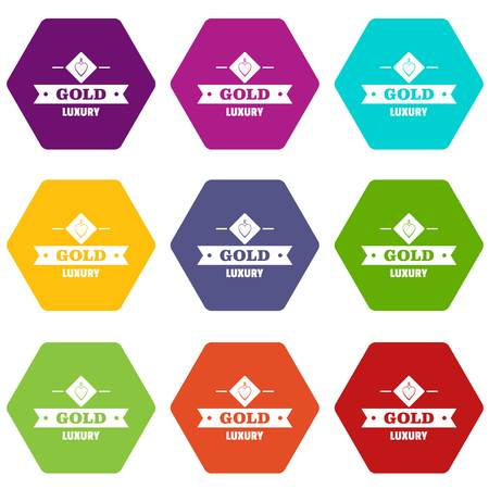 Jewelry gold icons 9 set coloful isolated on white for web