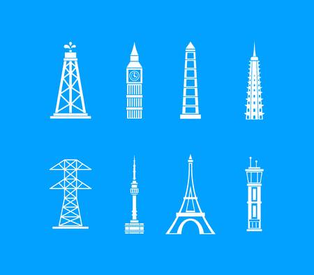 Tower icon set. Simple set of tower vector icons for web design isolated on blue background Illustration