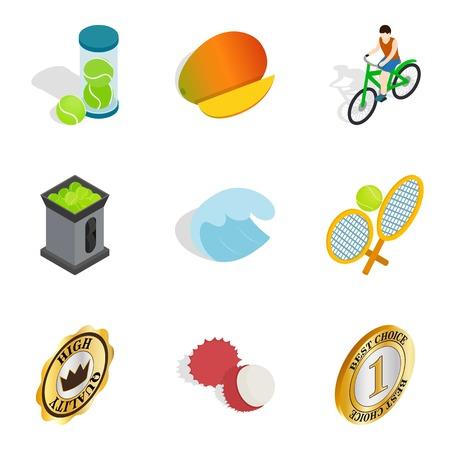 Subsidization icons set. Isometric set of 9 subsidization vector icons for web isolated on white background 일러스트