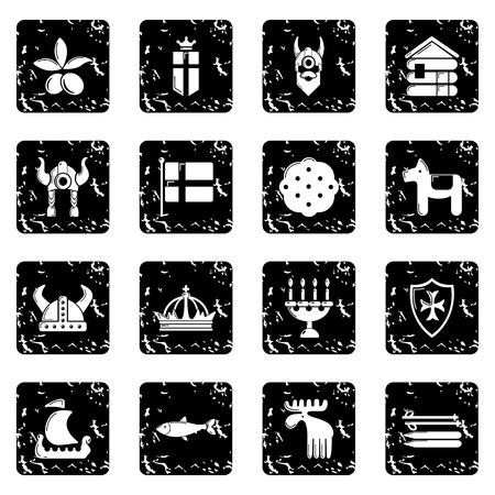 Sweden travel icons set vector grunge isolated on white background  Illustration