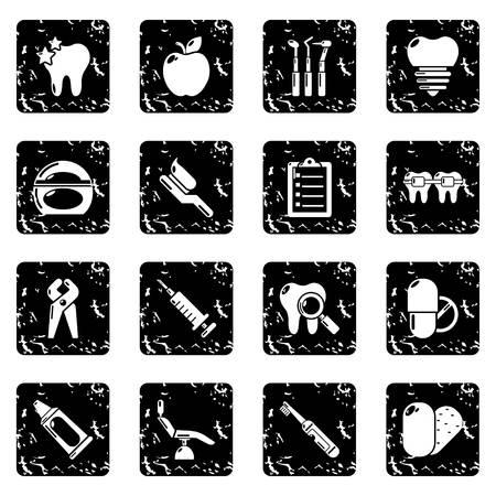 Stomatology dental icons set vector grunge isolated on white background