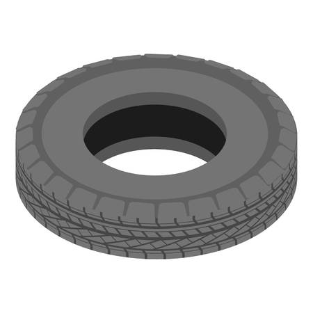 Car tyre icon. Isometric illustration of car tyre vector icon for web Vettoriali