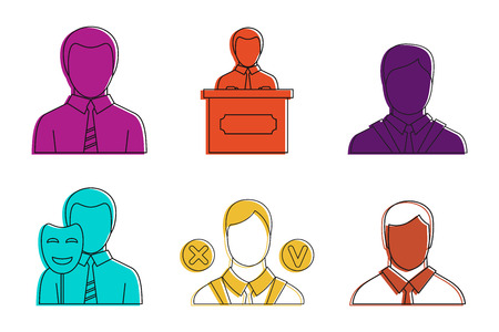 Politic man icon set. Color outline set of politic man vector icons for web design isolated on white background Illustration