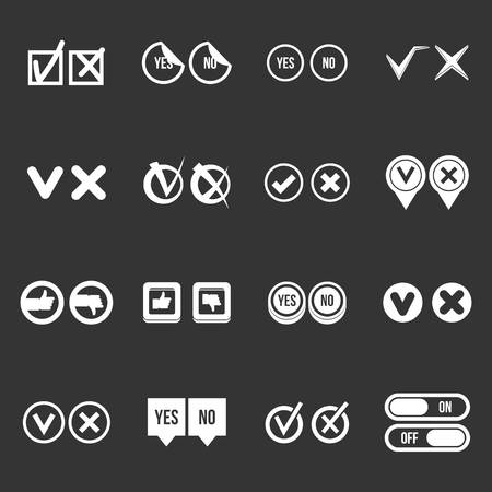 Check mark icons set vector white isolated on grey background
