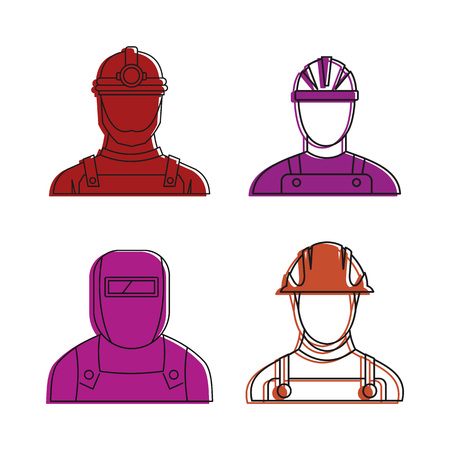 Construction man icon set. Color outline set of construction man vector icons for web design isolated on white background Illustration