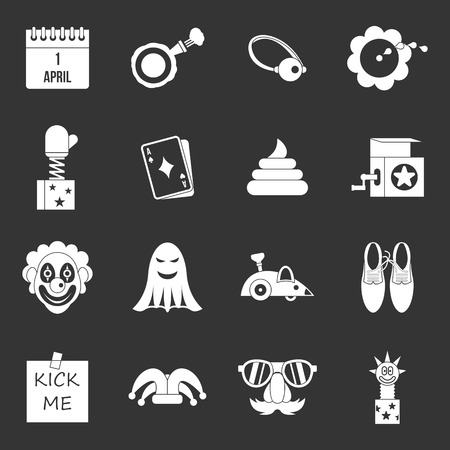 April fools day icons set vector white isolated on grey background
