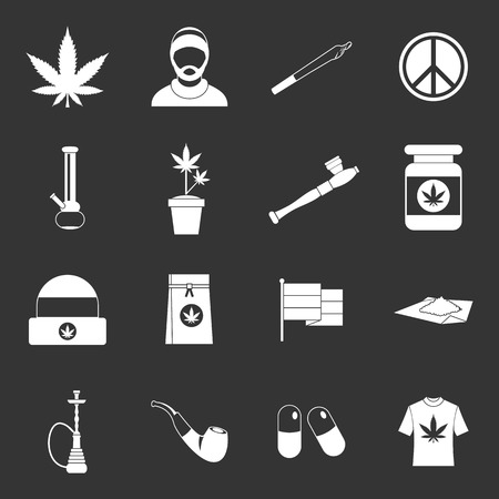 Rastafarian icons set vector white isolated on grey background