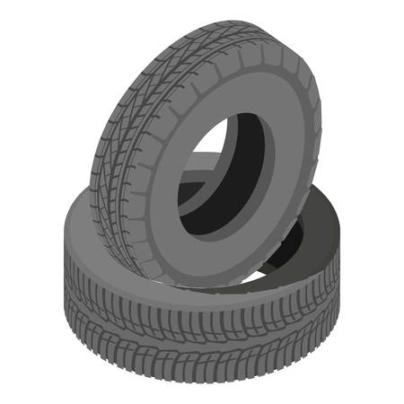 Tire icon, isometric style Illustration